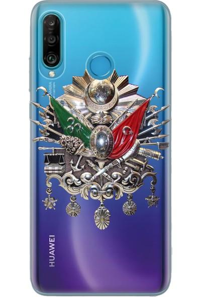 Cekuonline Huawei P30 Lite Desenli Esnek Silikon Telefon Kapak Kılıf - Osmanlı İmza