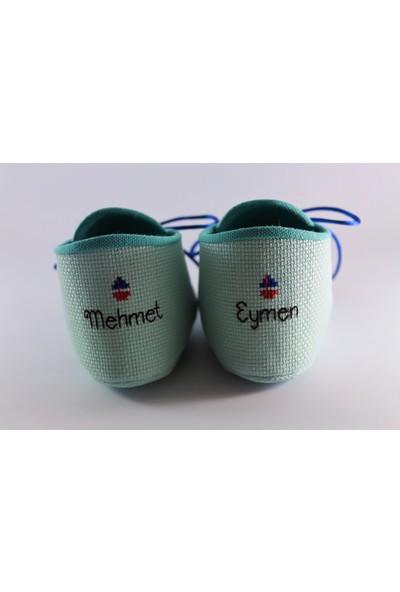 Etamine Takı Atölyesi İsimli Bebek Ayakkabısı Denizci Çapası