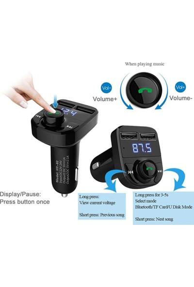 Car X8 2.0A Bluetooth Fm Transmitter Telefon Görüşme Destekli