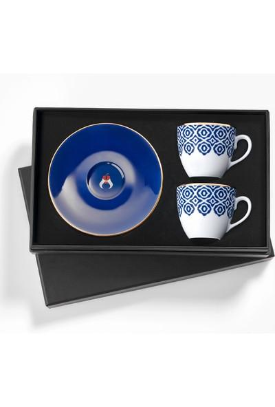 Selamlique 2'li Bleu Blanc Türk Kahvesi Fincanı