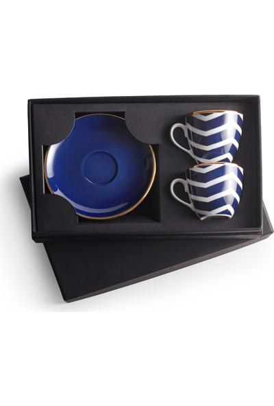 Selamlique 2'li Wave Blue Türk Kahvesi Fincanı