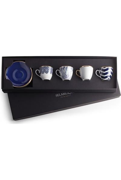 Selamlique 4'lü Karışık Blue Türk Kahvesi Fincanı