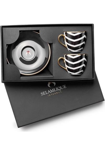 Selamlique 2'li Wave Black Türk Kahvesi Fincanı
