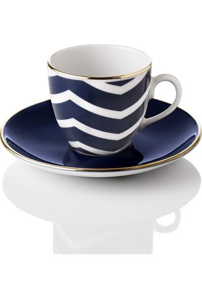 Selamlique 4'lü Wave Blue Türk Kahvesi Fincanı