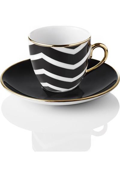 Selamlique 4'lü Wave Black Türk Kahvesi Fincanı