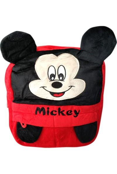 Redpoloshop Anaokulu Peluş Yumuşak Sırt Çantası Astarlı Mickey Mouse