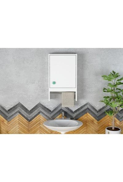 Sanal Mobilya Spon Banyo Dolabi Mat Beyaz