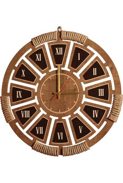 Ahşap Şehri Zeyrek Romen Rakamlı Otantik Hasır İşlemeli Ahşap Saat 45 cm