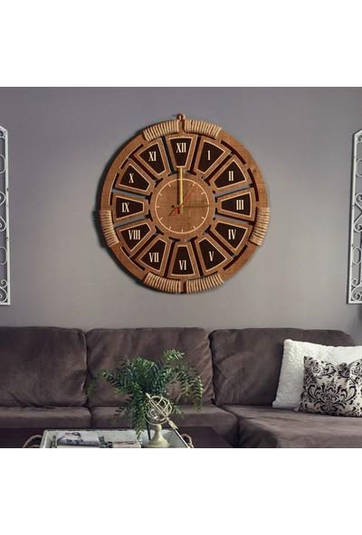 Ahşap Şehri Zeyrek Romen Rakamlı Otantik Hasır İşlemeli Ahşap Saat 55 cm
