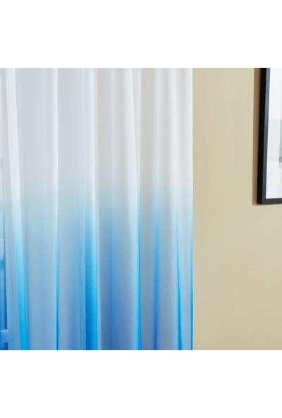 Belle Cose Degrade Renk Geçişli Mavi Tül Perde 100X260 cm