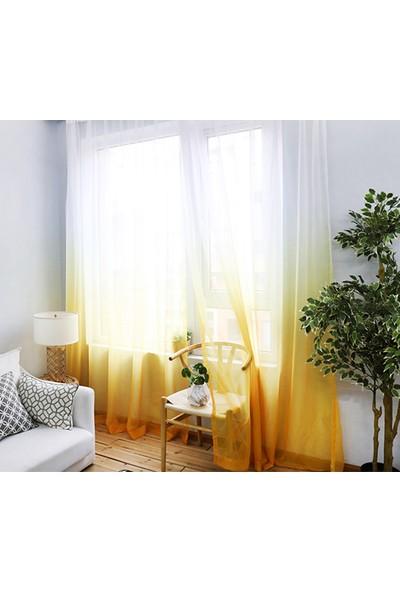 Belle Cose Degrade Renk Geçişli Sarı Tül Perde 100X260 cm