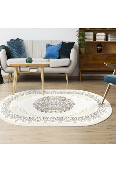 Tiffany Halı Fantasia Gümüş Grisi Oval Salon Halsı T2742AS 100x200 cm