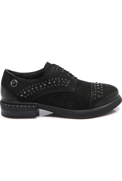 Mammamia Kadın Deri Ayakkabı Siyah Nubuk