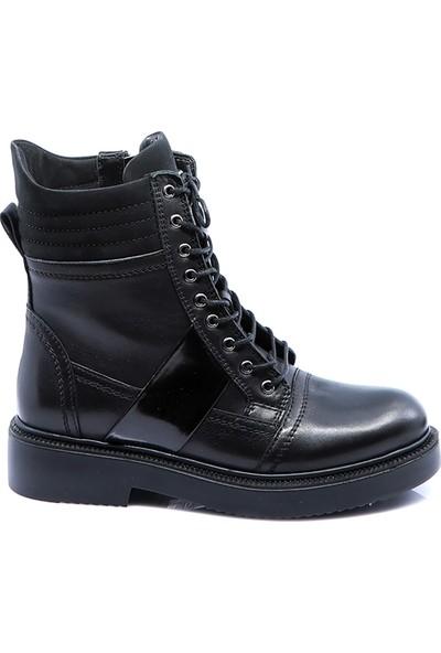 Eşle Ayakkabı Kadın Deri Bot Siyah-Siyah Nub