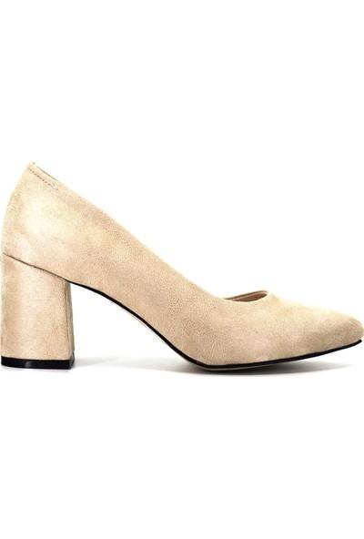 Eşle Ayakkabı 9Y-1144 Kadın Topuklu Ayakkabı Bej Süet
