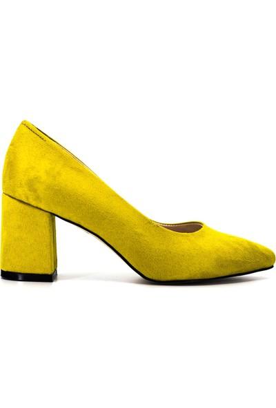Eşle Ayakkabı 9Y-1144 Kadın Topuklu Ayakkabı Sarı Süet