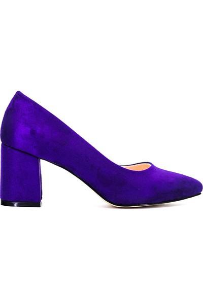 Eşle Ayakkabı 9Y-1144 Kadın Topuklu Ayakkabı Mor Süet