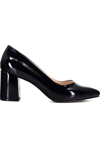 Eşle Ayakkabı 9Y-1144 Kadın Topuklu Ayakkabı Siyah Rugan