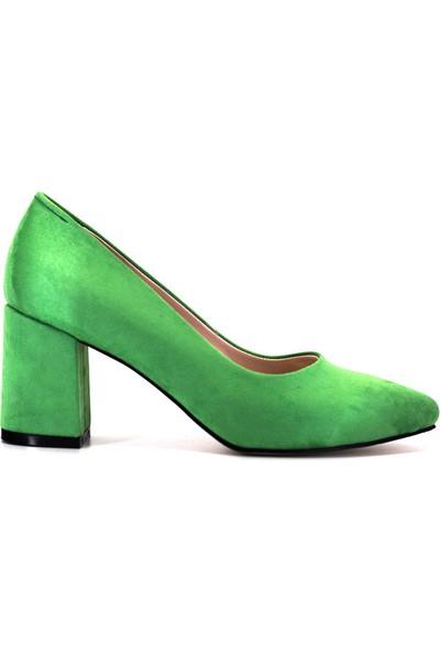 Eşle Ayakkabı 9Y-1144 Kadın Topuklu Ayakkabı Yeşil Süet