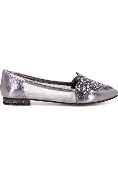 Eşle Ayakkabı 9Y-172-205 Kadın Babet Platin