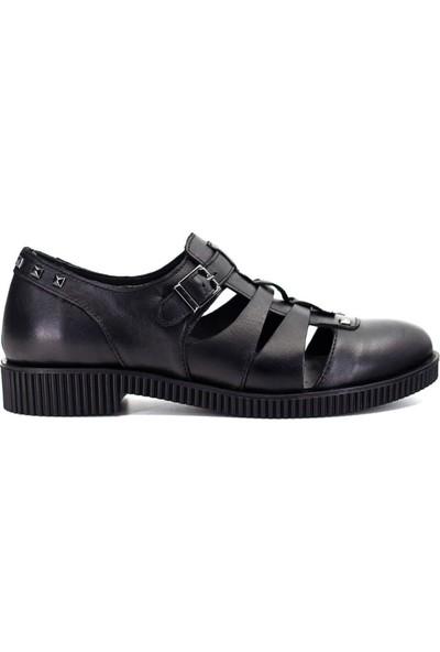 Mammamia D19Ya-3305 Kadın Deri Ayakkabı Siyah