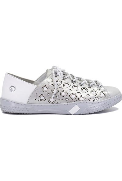 Mammamia D19Ya-4635 Kadın Deri Ayakkabı Gümüş