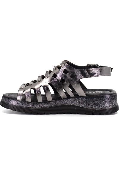 Mammamia D19Ys-1270 Kadın Deri Sandalet Platin