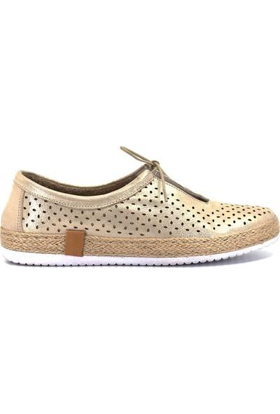 Mammamia D19Ya-855 Kadın Deri Ayakkabı Dore