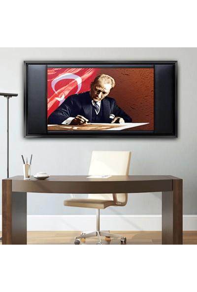 Dekorme Siyah Çerçeveli̇ Atatürk Bayrak 1 Makam Odasi Kanvas Tablo