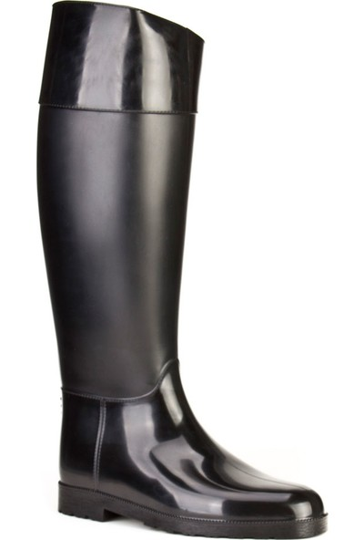 Cabani Günlük Çizme Siyah Rugan Vegan