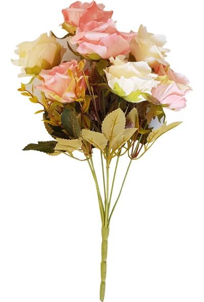 Asb Yapay çiçek 9 Dal Lüx İri Gül Demeti Pembe - Krem