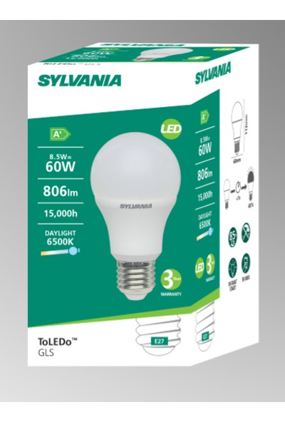 Sylvania E27 LED Lamba 8.5W Beyaz Işık