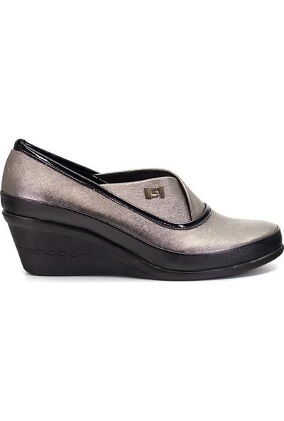 Eşle Ayakkabı 9Y-9118 Kadın Dolgu Topuk Ayakkabı Platin
