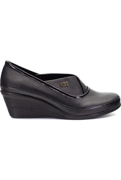 Eşle Ayakkabı 9Y-9118 Kadın Dolgu Topuk Ayakkabı Siyah