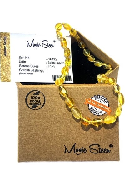 Mooie Steen Kehribar Bebek Kolyesi Ms1001