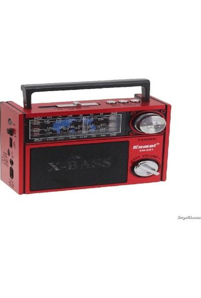 Kamal Km-201 Usb Kart Destekli Şarjlı Fm Radyo Nostalji