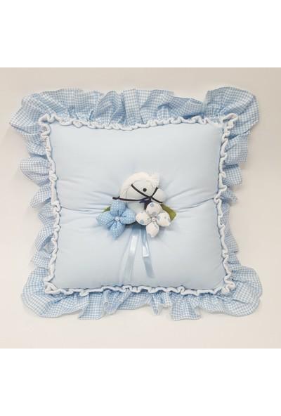 Baby Lüks Bebek Yastık - Takı Yastığı - Dekoratif Yastık Atlı Serisi Mavi