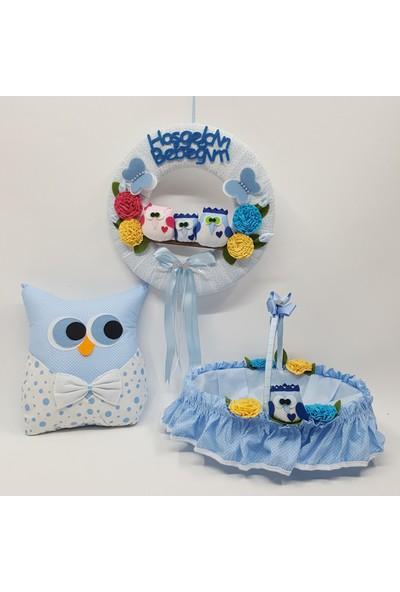 Baby Lüks Bebek Odası (Bebek Kapı Susu+Sepeti +Takı Yastık) Baykuş Serisi