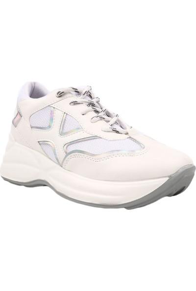 Dgn 50138 Kadın Kalın Taban Sneakers Spor Ayakkabı Beyaz Sarı Hologram