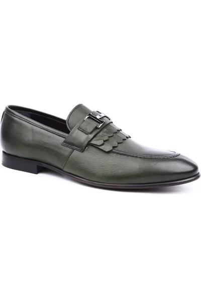 Dgn 6066 Erkek Kösele Taban Tokalı Jurdan Ayakkabı Haki Yakma