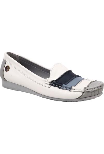 Mammamia D19Ya-625 Kadın Günlük Ayakkabı Beyaz Sedef/Gri Sedef