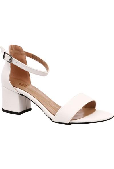 Dgn K1510 Kadın Tek Bant Bilekten Bağlı Kısa Topuklu Ayakkabı Beyaz