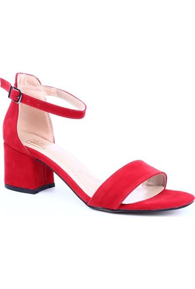 Dgn K1510 Kadın Tek Bant Bilekten Bağlı Kısa Topuklu Ayakkabı Kırmızı Süet