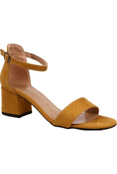 Dgn K1510 Kadın Tek Bant Bilekten Bağlı Kısa Topuklu Ayakkabı Hardal Süet