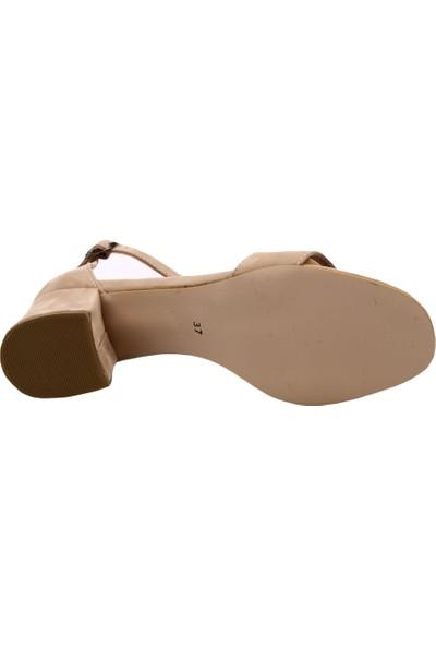 Dgn K1510 Kadın Tek Bant Bilekten Bağlı Kısa Topuklu Ayakkabı Ten Süet