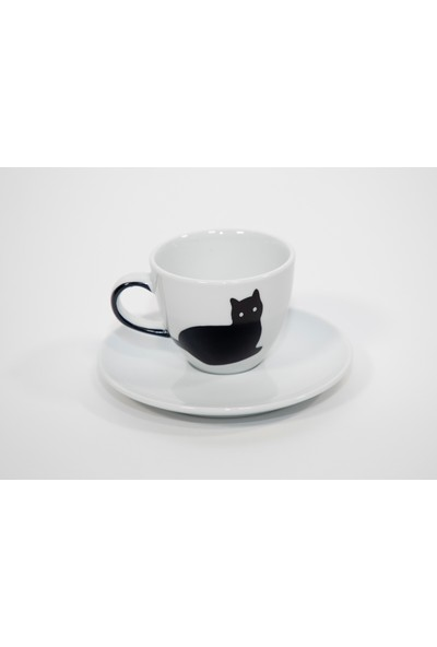 MediaCat Gürbüz Doğan Tasarımı Kedi Figürlü Kahve Fincan Takımı