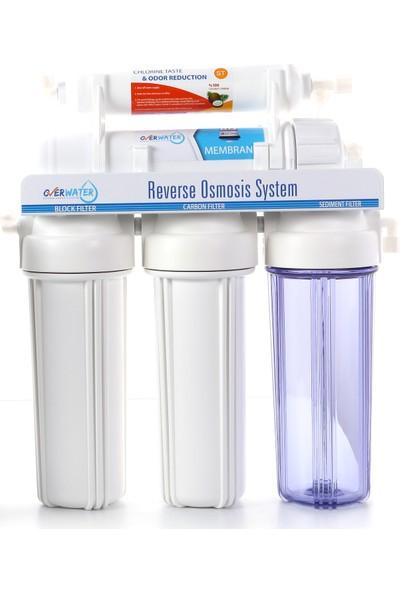 Overwater AçıkKasa 5 Aşamalı Pompasız Su Arıtma Cihazı Lg Membran + Lüks Musluk + MetalTank
