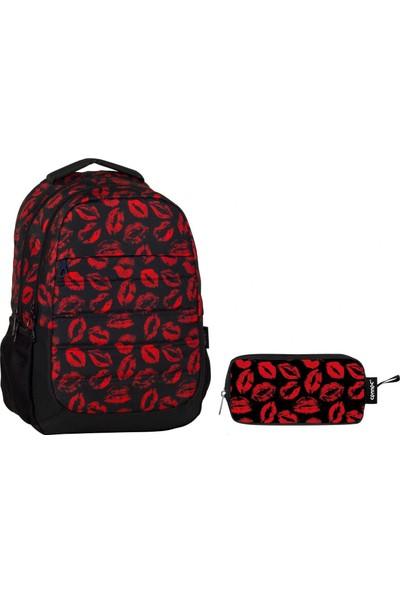 Ümit Çanta Cennec Öpücük Baskılı İlkokul Ve Ortaokul Çanta Seti (Kırmızı Siyah(