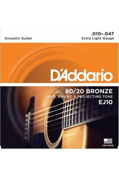 D'Addario EJ10 80 / 20 Bronze Akustik Gitar Teli (010-047)