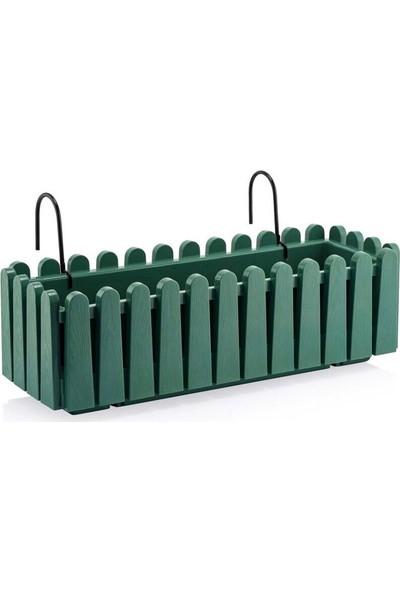 Drc Bahçe Balkon Çit Saksı Askı Aparatlı Deniz Yeşili Renk